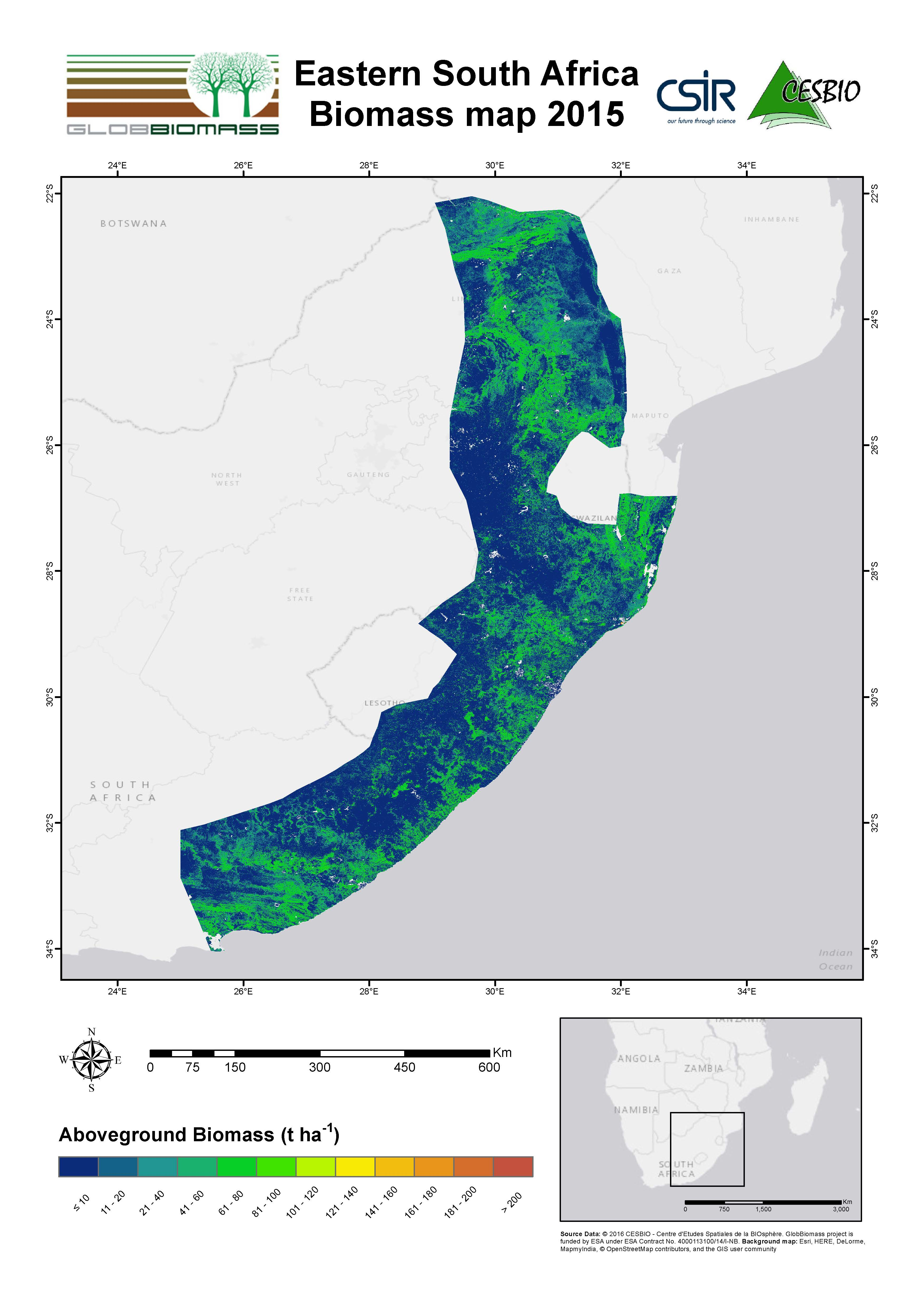Regional Biomass Mapping South Africa ESA DUE Globbiomass - South africa regional map