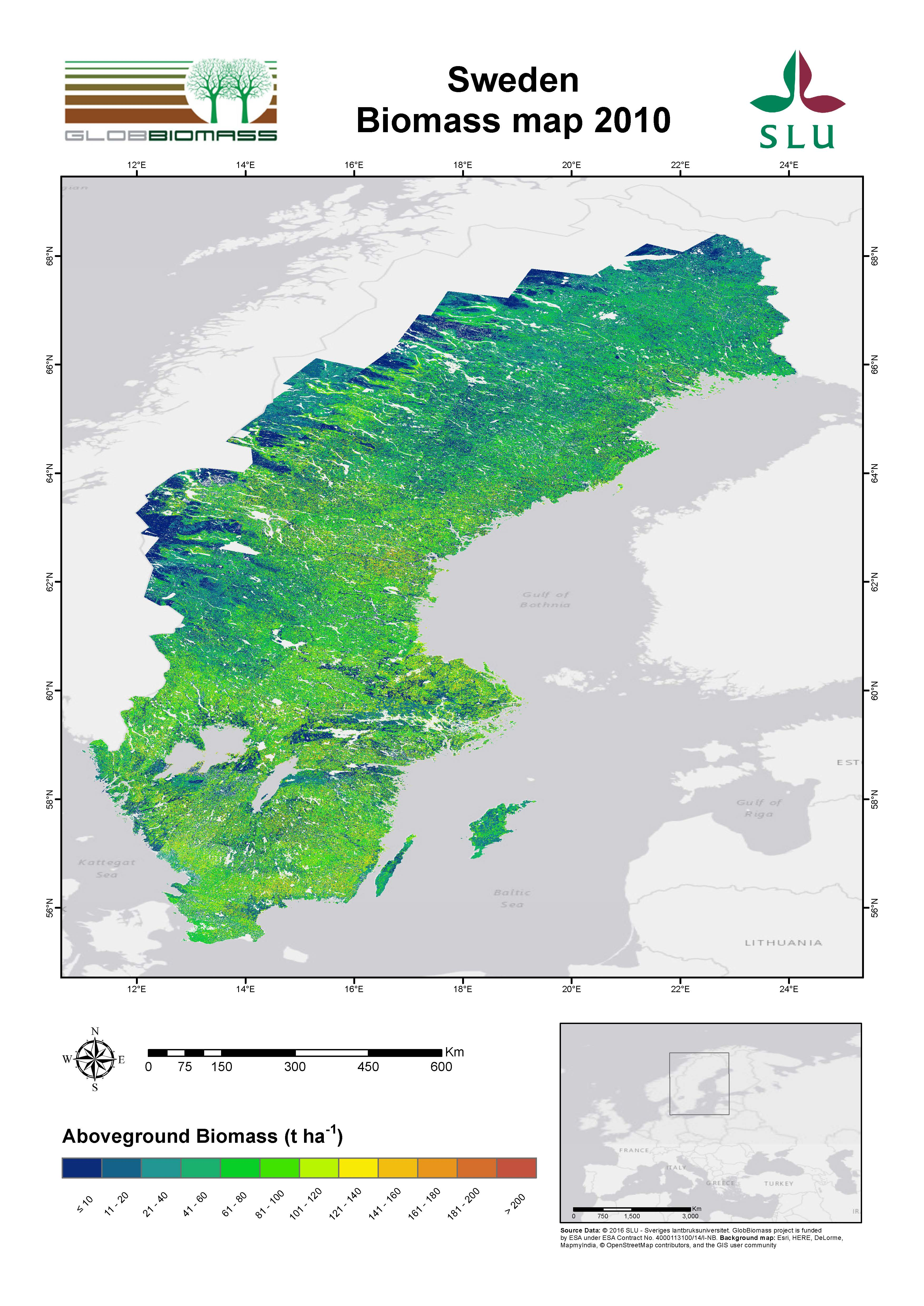 Regional Biomass Mapping Sweden ESA DUE Globbiomass - Sweden map topographic
